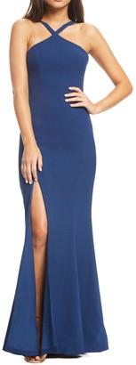 Dress the Population Brianna Halter Neck Trumpet Gown
