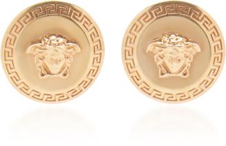 Versace Tribute Medusa-Engraved Gold-Tone Stud Earrings