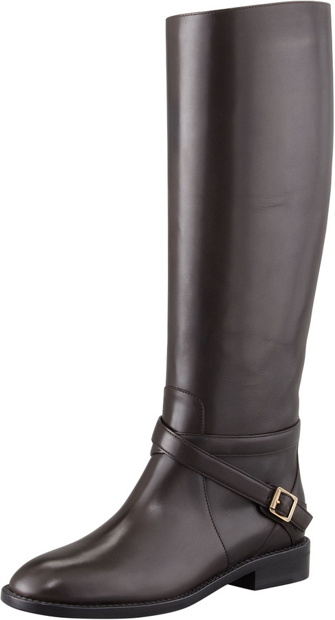 Saint Laurent Tall Buckled Riding Boot, Chocolate