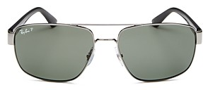 Ray-Ban Unisex Polarized Brow Bar Aviator Sunglasses, 60mm