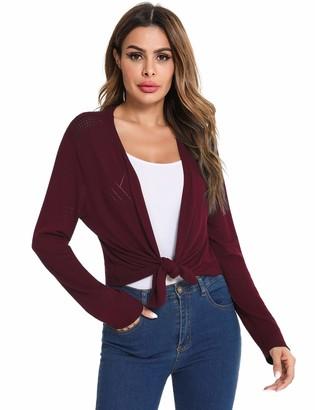 Irevial Women Open Front Knit Sheer Shrug Long Sleeve Bolero Floral Casual Cardigan Jacket Blue