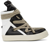 Rick Owens Black and White Geo Basket High Top Sneakers -Black