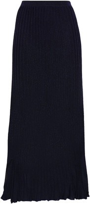 Sandro Emanuelle Metallic Ribbed-knit Midi Skirt