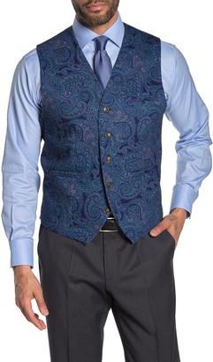 Tallia Navy Paisley Five Button Vest