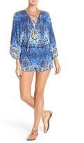 Red Carter Lace-Up Neck Cover-Up Romper