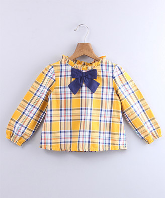Beebay Girls' Blouses Yellow - Yellow & Blue Plaid Bow-Accent Long-Sleeve Top - Newborn, Infant, Toddler & Girls