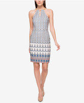 Jessica Simpson Printed Chain-Neck Halter Dress