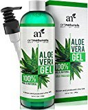 Alöe ArtNaturals Organic Vera Gel - for Face, Hair and Body - 100% Pure Natural and Cold Pressed - for Sun Burn, Eczema, Bug or Insect Bites, Dry Damaged Aging skin, Razor Bumps and Acne - 12 oz.