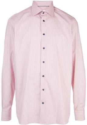 Eton check print spread collar shirt