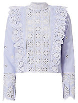 Sea Eyelet Ruffle Crop Blouse
