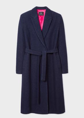 Women's Navy Wool-Blend Wrap Coat