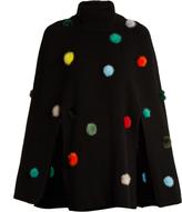 Fendi Fur pompom embellished cashmere cape