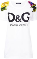 Dolce & Gabbana logo floral embroidered T-shirt - women - Silk/Cotton/Polyamide/glass - 38