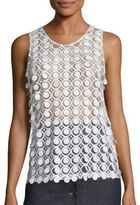 Carven Sleeveless Circle Detail Tank