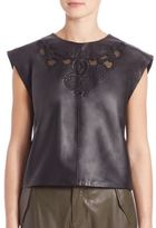 SET Leather Cap Sleeve Top