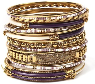 Amrita Singh Women's Bracelets Purple/Ivory - Purple & Cream Monte Carlo Bangle Set