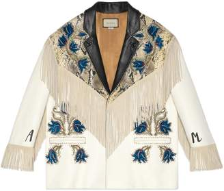 Gucci Leather jacket with appliqués