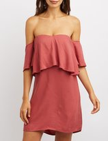 Charlotte Russe Ruffle-Trim Off-The-Shoulder Shift Dress
