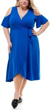 City Studios Trendy Plus Size Cold-Shoulder Fit & Flare Dress
