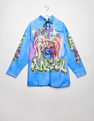 Jaded London oversized hoodie dress in graffiti and cartoon graphic