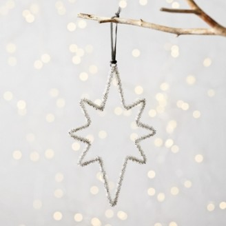 The White Company Silver Beaded North Star Christmas Decoration, Silver, One Size
