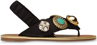 Miu Miu Jewelled Flat Sandals