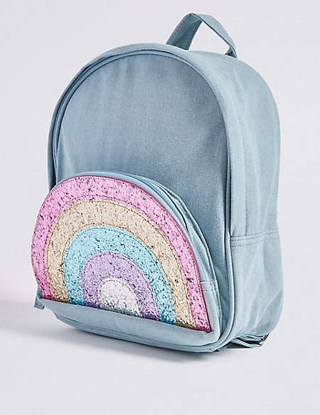 Marks and Spencer Kids' Pure Cotton Glitter Rainbow Backpack