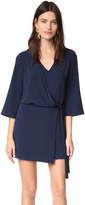 Halston V Neck Dress with Overlay & Ties