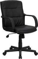 Mid-Back Black Leather Swivel Task Chair with Nylon Arms