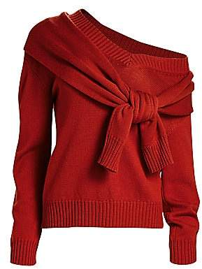 Monse Women's Tied Cold-Shoulder Knit Wool Sweater