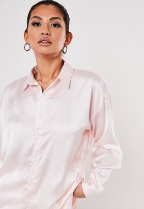 Missguided Powder Pink Extreme Oversized Satin Shirt