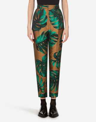 Dolce & Gabbana High-Waisted Pants In Lame Philodendron Jacquard