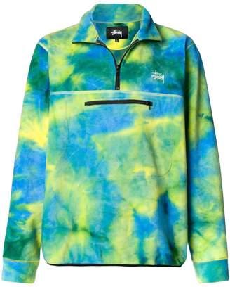 Stussy tie dye polar sweatshirt