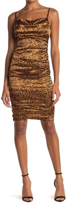 LIKELY Alessia Tiger Print Satin Dress