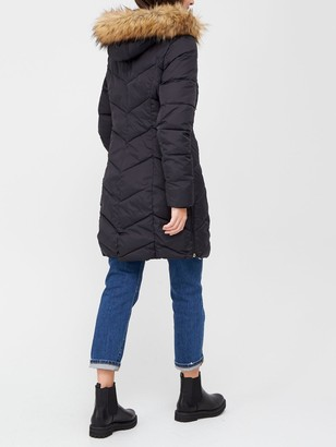 Very Premium Padded Coat With Woven Trim - Black