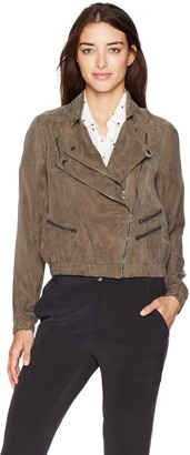 Blank NYC Women's Olive Cupro Lightweight Moto Jacket