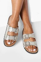 Thumbnail for your product : boohoo Wide Fit Metallic Double Buckle Sandals