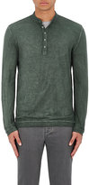 Massimo Alba Men's Cotton Henley Shirt-DARK GREEN