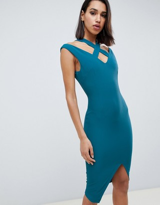 Vesper wrap front midi dress with cut out detail