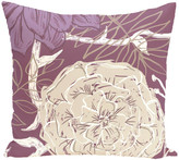 """E By Design Flowers And Fronds Floral Print Pillow, Plum, 18""""x18"""""""