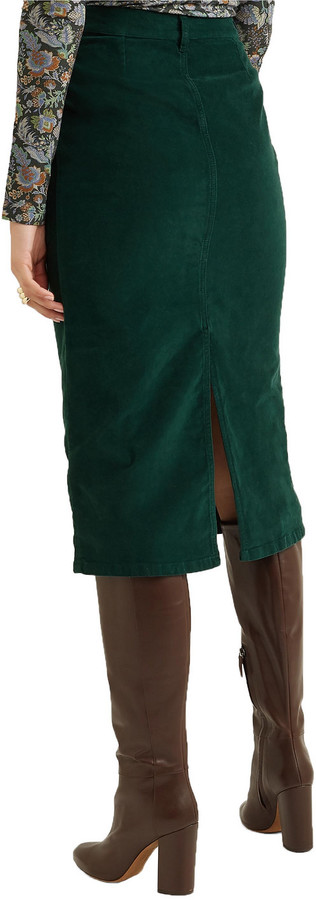 Thumbnail for your product : See by Chloe Moleskin Cotton-blend Midi Skirt