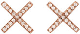 Eva Fehren Rose Gold & Diamond X Studs