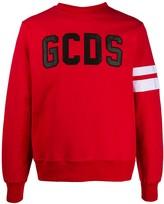 GCDS embroidered logo stripe sleeve sweatshirt