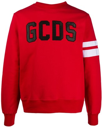 GCDS Embroidered Logo Stripe Sleeve Sweatshirt
