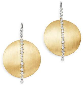 Meira T 14K Yellow & White Gold Diamond Disc Drop Earrings
