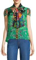 Alice + Olivia Jeannie Bow Collar Floral Blouse