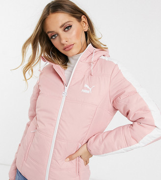 Puma T7 puffer jacket with stripe sleeve in pink