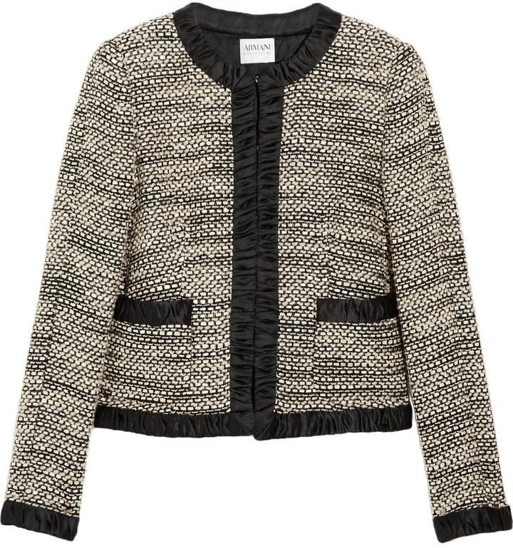 Armani Collezioni Satin-trimmed bouclé wool-blend jacket