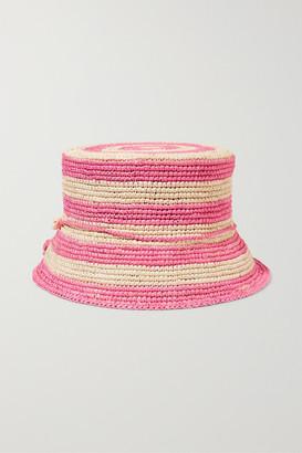 Sensi Studio Kids - Embellished Striped Toquilla Straw Bucket Hat - Pink
