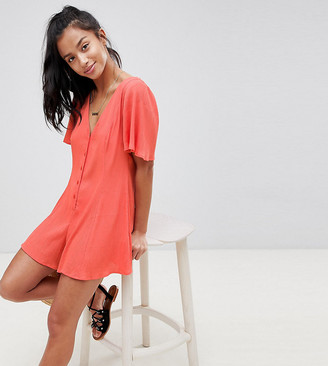 Asos DESIGN Petite Swing Playsuit With Button Detail